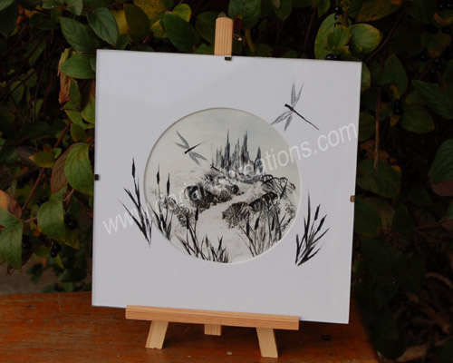 peinture encaustique paysage noir et blanc sous verre 20x20cm SV08