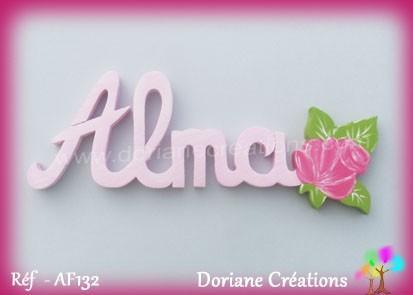 Prénom bois Alma rose