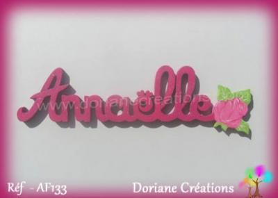 Prénom bois Annaëlle rose