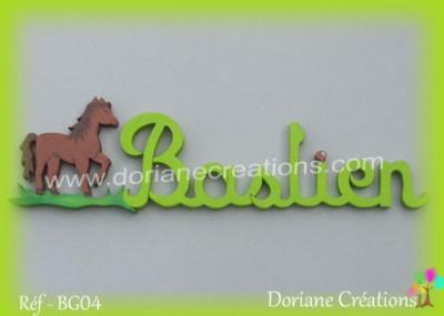 Prénom-bois-Bastien-cheval
