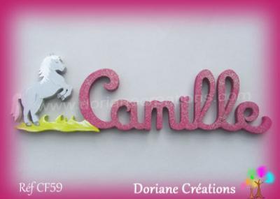 Prénom-bois-Camille-cheval cabré