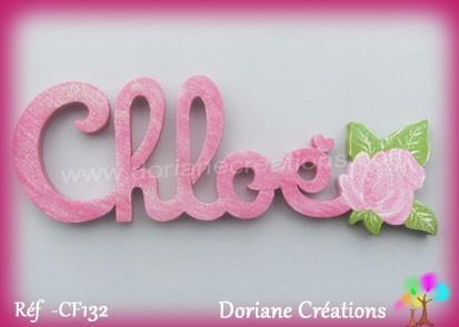 Prénom bois Chloé rose