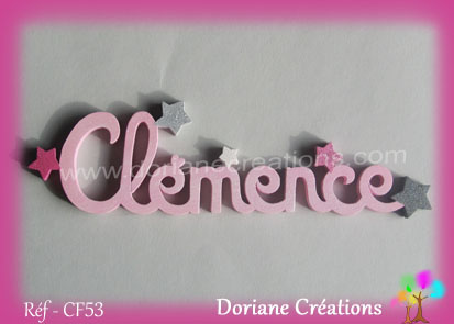 prénom-bois-Clémence-étoiles