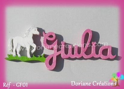Prénom-bois-Giulia-cheval debout