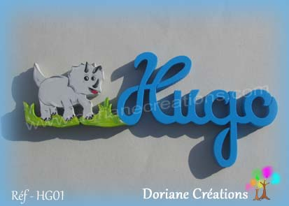 prénom-bois-Hugo-dinosaure