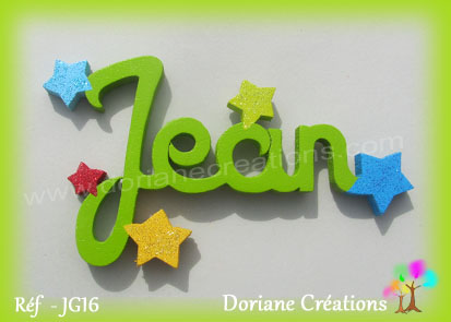 Prénom-bois-Jean-étoiles