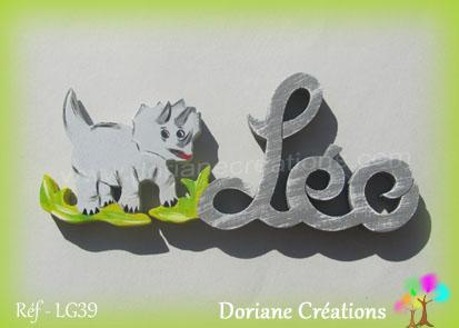 Prénom-bois-Léo-dinosaure