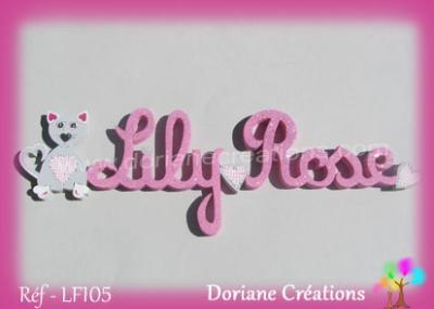 prénom-bois Lily-Rose-chat