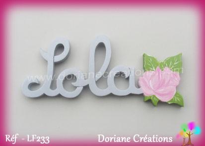 Prénom bois Lola rose