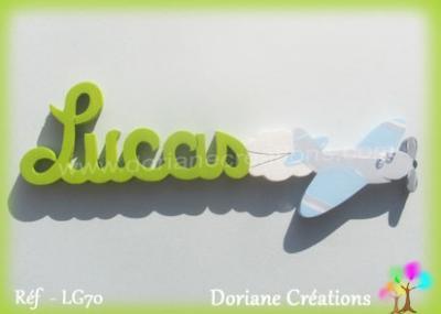 Prénom-bois-Lucas-avion