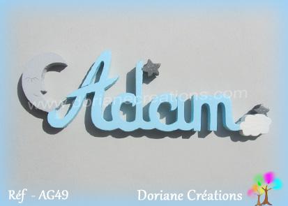 Prénom-bois-lune et étoiles-Adam