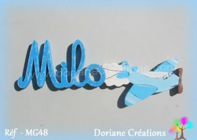 Prénom-bois-Milo-avion