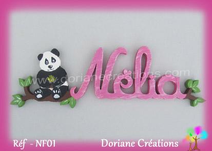 prénom en bois Nélia panda