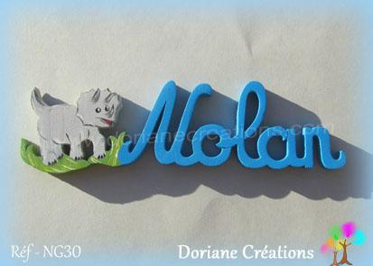 Prénom-bois-Nolan-dinosaure