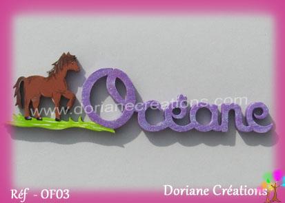 Prénom-bois-Océane-cheval