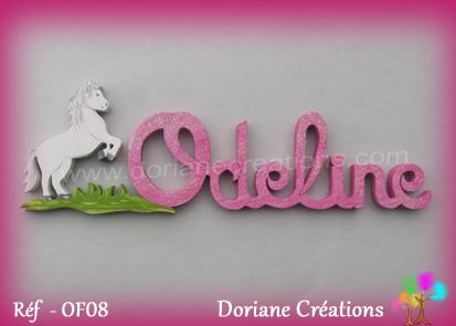 Prénom-bois-Odeline-cheval cabré