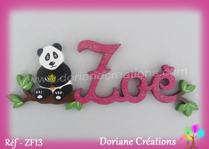 prénom en bois Zoé panda