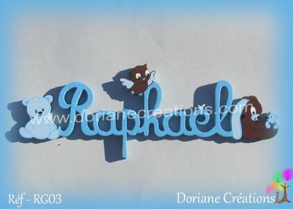 prénom-bois-Raphaël-animaux