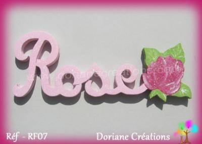 Prénom bois Rose avec rose