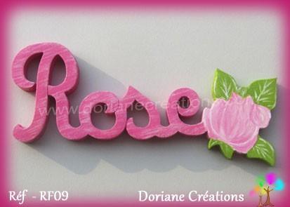 Prénom bois Rose rose