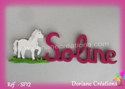 Prénom-bois-Soline-cheval blanc