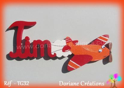 Prénom-bois-Tim-avion