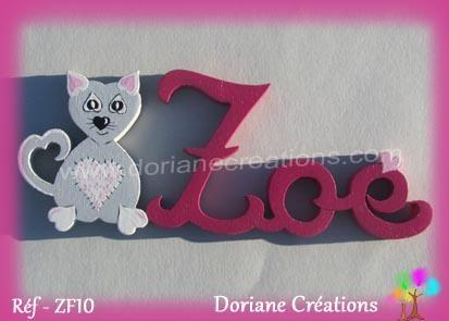 prénom-bois-Zoé-chat