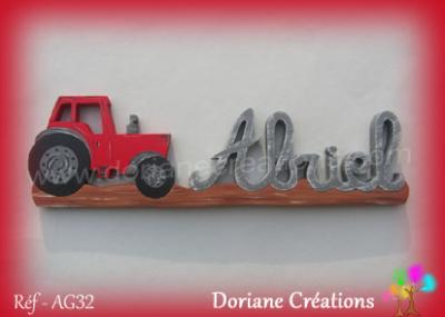 prénom en bois Abriel tracteur