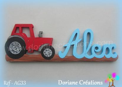 prénom en bois Alex tracteur