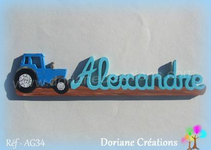prénom en bois alexandre tracteur