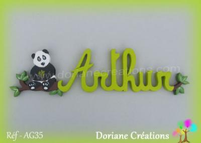 prénom en bois Arthur panda