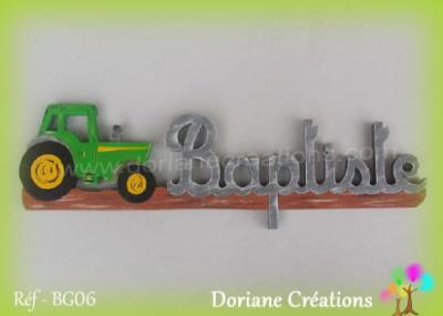 prénom en bois Baptiste tracteur