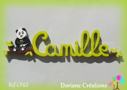 Prénom en bois Camille panda