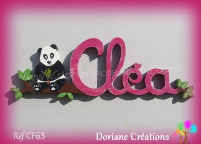 Prénom en bois Cléa panda