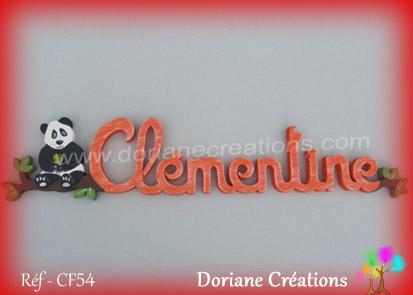 prénom en bois Clémentine panda