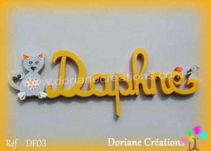 prénom en bois Daphné chat