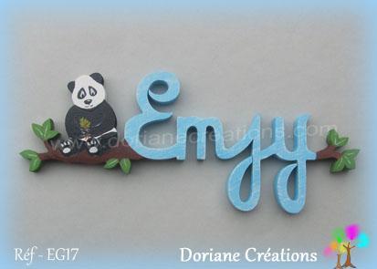 prénom en bois Emjy panda