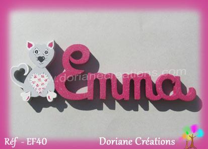 prénom en bois Emma déco chat