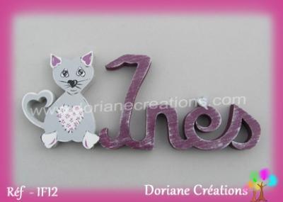 prénom en bois Inès décor chat