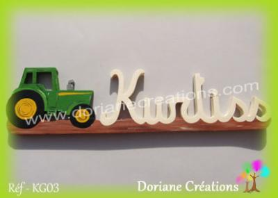 prénom en bois Kurtiss tracteur