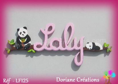 prénom en bois Laly pandas