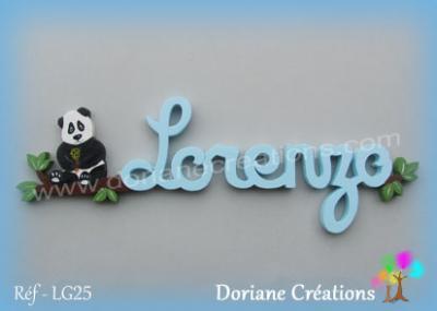 prénom en bois Lorenzo panda