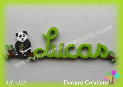 prénom en bois Lucas panda