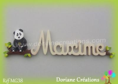 Prénom en bois Maxime panda