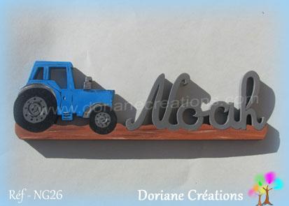 prénom en bois Noah tracteur
