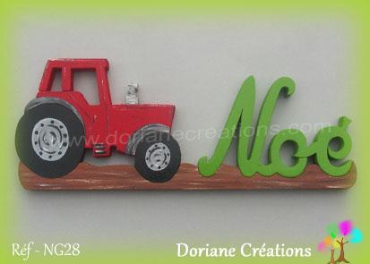 prénom en bois Noé tracteur