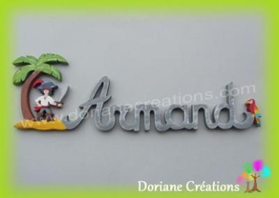Prénom en bois pirate Armand