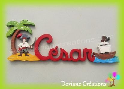 Prénom en bois pirate César