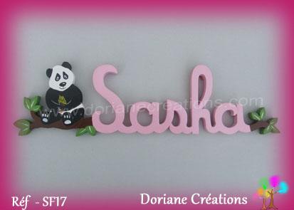 prénom en bois Sasha panda