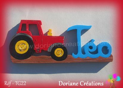 prénom en bois Téo tracteur
